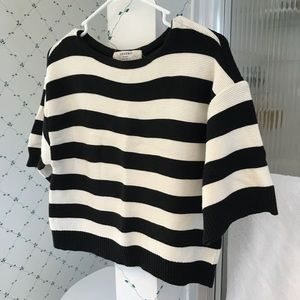Zara Knit Small Black & White Stipe Crop Top